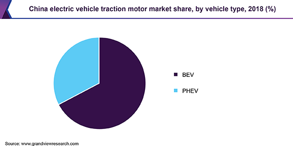 China electric vehicle traction motor market share, by vehicle type, 2018 (%)