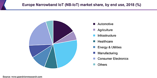 Europe Narrowband IoT (NB‑IoT) market share, by end use, 2018 (%)