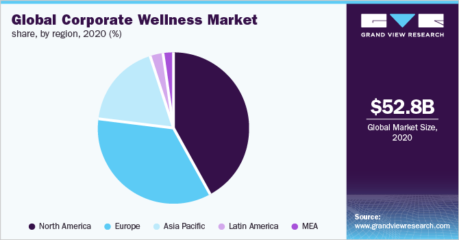 Global corporate wellness market share, by end use, 2019 (%)