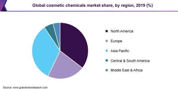 Global cosmetic chemicals market share, by region, 2019 (%)