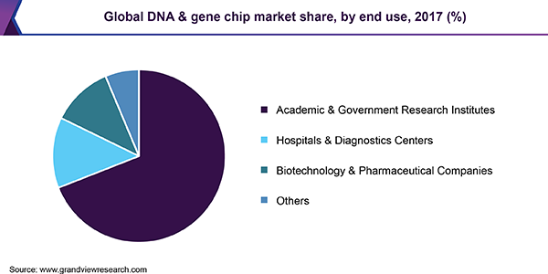 Global DNA & gene chip market share, by end use, 2017 (%)