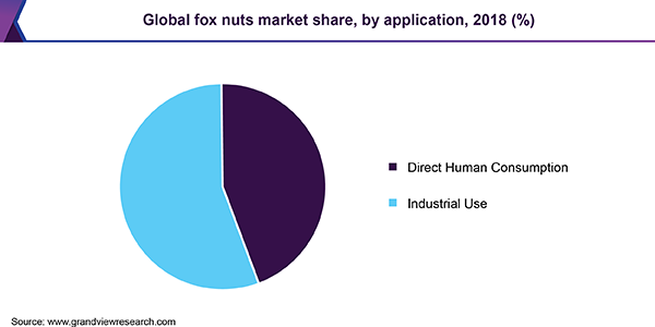 Global fox nuts market share, by application, 2018 (%)