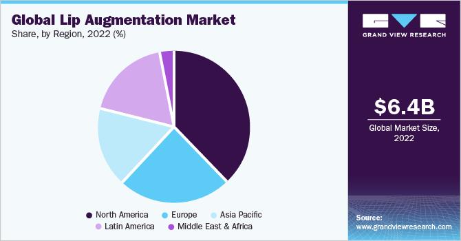 Global lip augmentation market share, by region, 2019 (%)