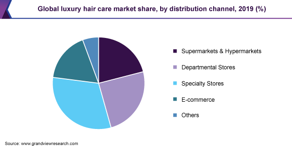 Global luxury hair care market share, by distribution channel, 2019 (%)