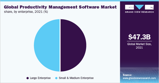 Global productivity management software market share, by enterprise type, 2019 (%)