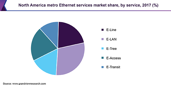 North America metro Ethernet services market share, by service, 2017 (%)