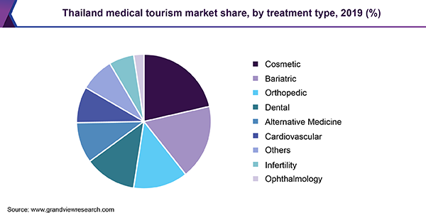 Thailand medical tourism market share, by treatment type, 2018 (%)