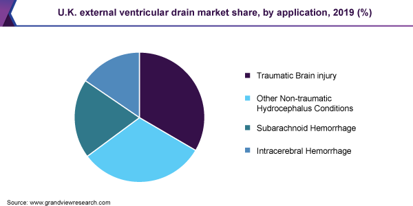 U.K. external ventricular drain market share, by application, 2019 (%)